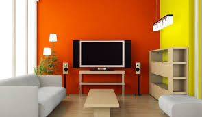 orange livingroom orange tv wall in modern minimalist living room interior design