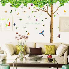 amazon com hunnt happy tree wall sticker decal ideal for kids dagou extra huge size 7 4 h x 9 7 w
