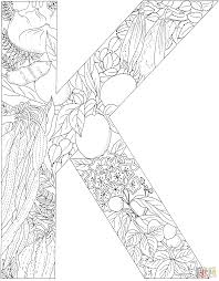 letter k with plants coloring page free printable coloring pages