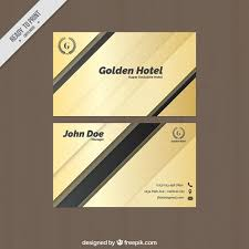 Hotel Business Card Abstract Golden Business Card With Black Details Vector Free