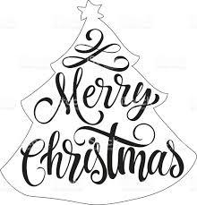 merry christmas lettering in fir outline stock vector art
