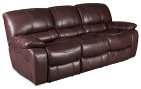 Fabric Recliner Sofa by Reid Leather Like Fabric Reclining Sofa Brown The Brick