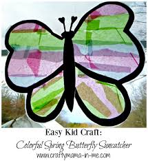 easy kid craft colorful spring butterfly suncatcher crafty mama