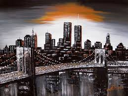 new york painting original modern abstract painting new ork city skyline by enxu zhou