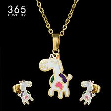 animal gold necklace images Hot sale stainless steel animal jewelry set gold chain kids jpg