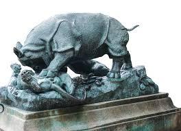 metal lion sculpture free photo park metal rhino lion sculpture max pixel