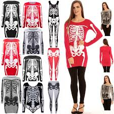Ladies Skeleton Halloween Costume by Womens Halloween Ladies Jersey Skeleton Bones Bodycon Tunic T
