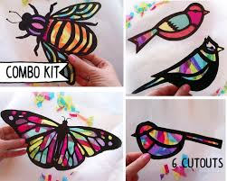 kids craft butterfly and dragonfly stained glass suncatcher kit