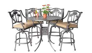 High Table Patio Furniture Palm Tree Bar Set 48 In Bar Table Swivel Barstools Patio