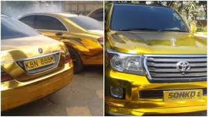 gold cars millionaire kenyan governor mike sonko shows off his gold cars and