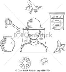 beekeeping and apiary sketch icons with beekeeper in hat and