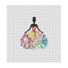 woman colorful fancy dress embroidery design in 4x4 5x5 6x6 and