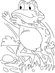 Print Download Frog Coloring Pages Theme For Kids Green Coloring Page