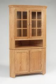 astonishing oak corner hutch cabinet with square recessed panel