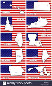 Flag Capital Usa States Contours With Capital City Against Blurred American