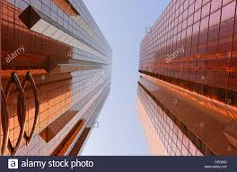 copper colored facades of office towers modern architecture