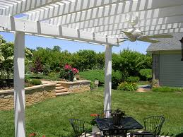Pergola Ceiling Fan Patio Transformed With Attached Low Maintenance Vinyl Pergola Kit