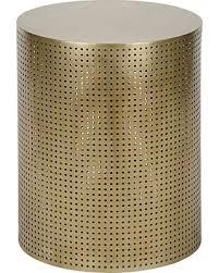 modern gold table l spring savings on orelia modern gold brass metal mesh drum side