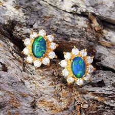green opal earrings opal earrings black star opal