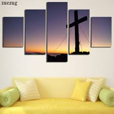 Unframed 5 Panels Christian Church Cross Canvas Print Home
