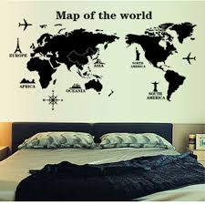 world map letters profile black simple design removable wall world map letters profile black simple design removable wall stickers decal diy art wallpaper mural kids