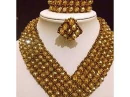 beautiful beads necklace images Beautiful home made golden carpet beads necklace nigeria ads jpg