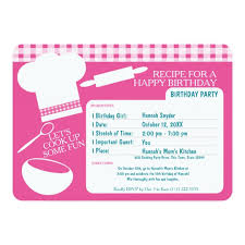anniversaire cuisine carte de recette de fête d anniversaire de cuisine zazzle fr