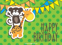 Jungle Birthday Card Happy Birthday Card With A Monkey And A Giraffe Vector Free Download