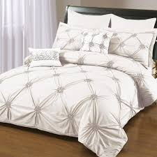 Ruched Bedding Shabby Chic White Rose Bedding Ruched Duvet Cover Decoration