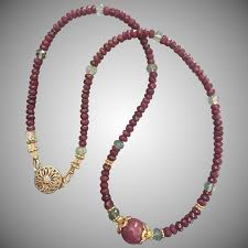 natural beads necklace images Elegant natural un dyed ruby beads necklace with center star ruby jpg