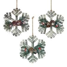 rustic snowflake christmas ornament trio wholesale at koehler home