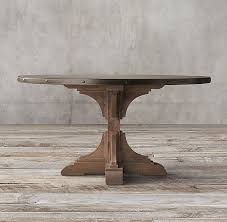round pine dining table c reclaimed pine zinc trestle round dining table