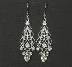 silver chandelier earrings rhinestone chandelier earrings chandelier bridal earrings