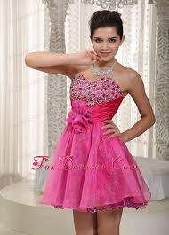 dresses for 5th grade graduation hot pink a line mini beading and flower prom dress