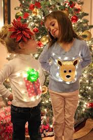 christmas tree sweater with lights utah county mom no sew ugly christmas light up sweaters for kids