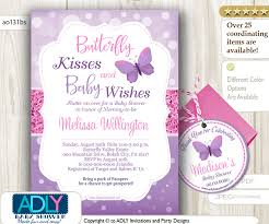 purple pink butterfly kisses and baby wishes invitation for