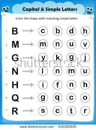 worksheet color circle matching simple letter stock vector