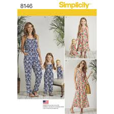 jumpsuit stitching pattern simplicity pattern 8146 matching outfits for misses child and 18 doll