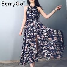 BerryGo Split backless summer dress women Christmas floral beach