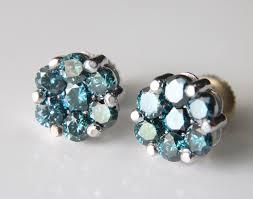 diamond cluster earrings 14k white gold blue diamond cluster stud earrings 1 12 tcw