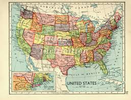 Us Map Image Usa Map 1930s Vintage United States Map Map Decor Office Decor