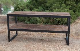 Tv Table Furniture Design With Wood Buy A Hand Made Industrial Tv Stand Reclaimed Wood U0026 Steel