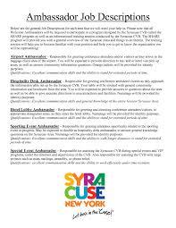 Sales Representative Job Description Resume by Brand Ambassador Job Description For Resume Resume For Your Job