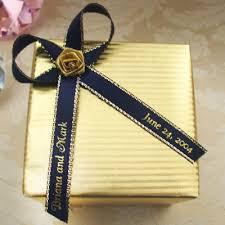 personalized wedding ribbon gold or silver edge satin personalized ribbon 50 pcs
