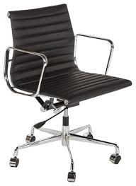 Black Leather Office Chairs The Midcentury Genuine Leather Executive Office Chair