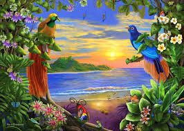 bird four nature lovely paintings flowers love trees butterflies