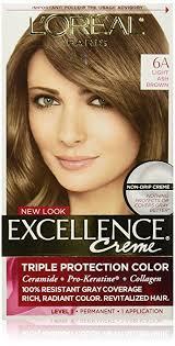 light ash brown hair color amazon com l oréal paris excellence créme permanent hair color 6a