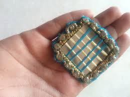 mirror thread work patch square applique blue applique indian