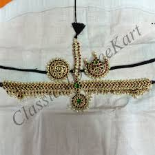 bharatanatyam hair accessories set with kemp stones real temple jewellery for bharatanatyam and