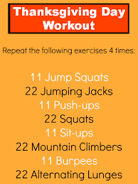 thanksgiving day workout thanksgiving menu